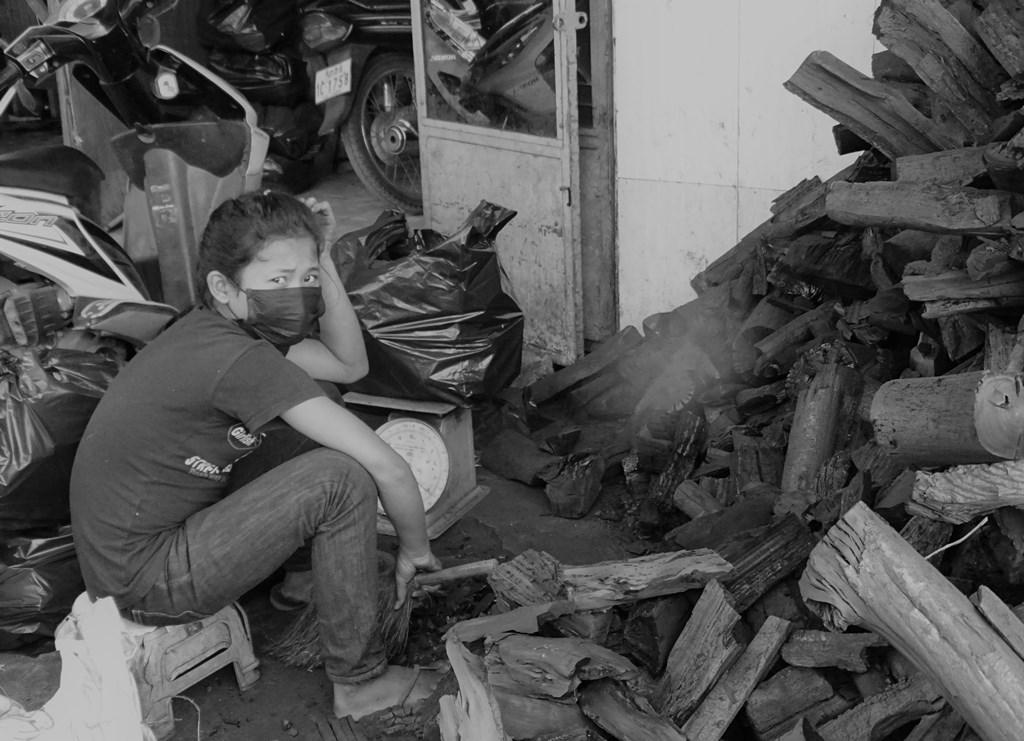 Charcoal Sales, Market, Kampong Thom, Cambodia