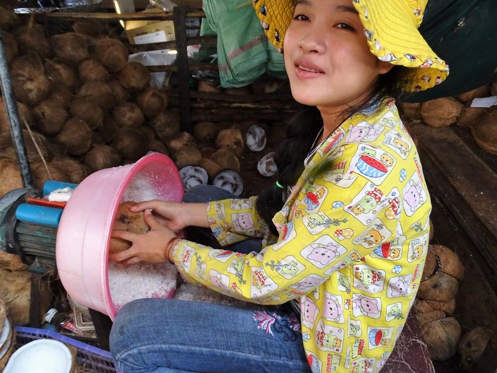 Grinding Coconut, Market, Kampong Thom, Cambodia