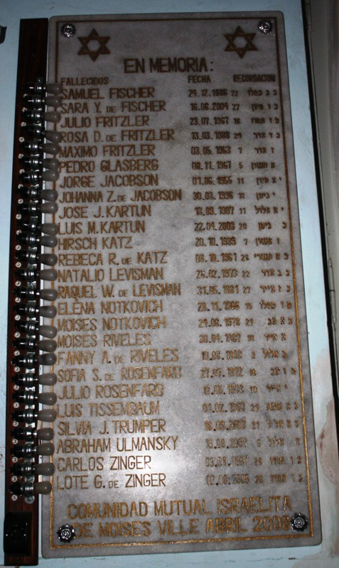 Memorial Plaque, Congregación Israelita Baron Hirsch