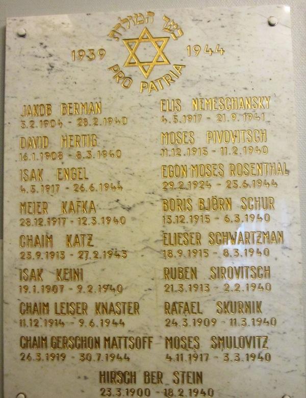 Jewish Casualties, WW II, Synagogue, Helsinki, Finland