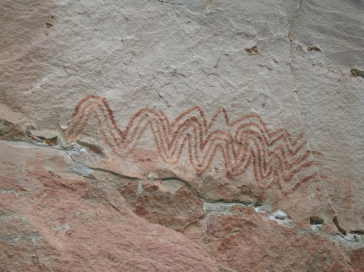 Prehistoric Cliff Paintings, Mekong River, Thailand