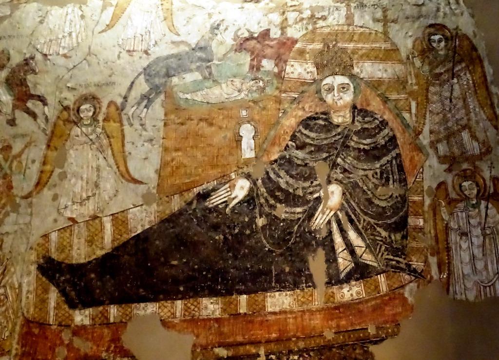 Birth of Jesus, Coptic Christian Wall Painting, Sudan National Museum, Khartoum